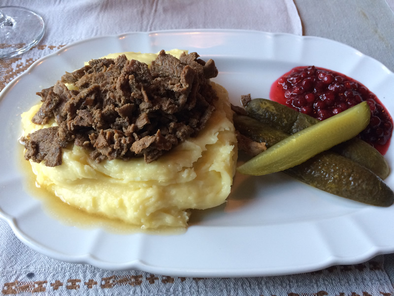 Traditional Finnish dish, with reindeer meat.