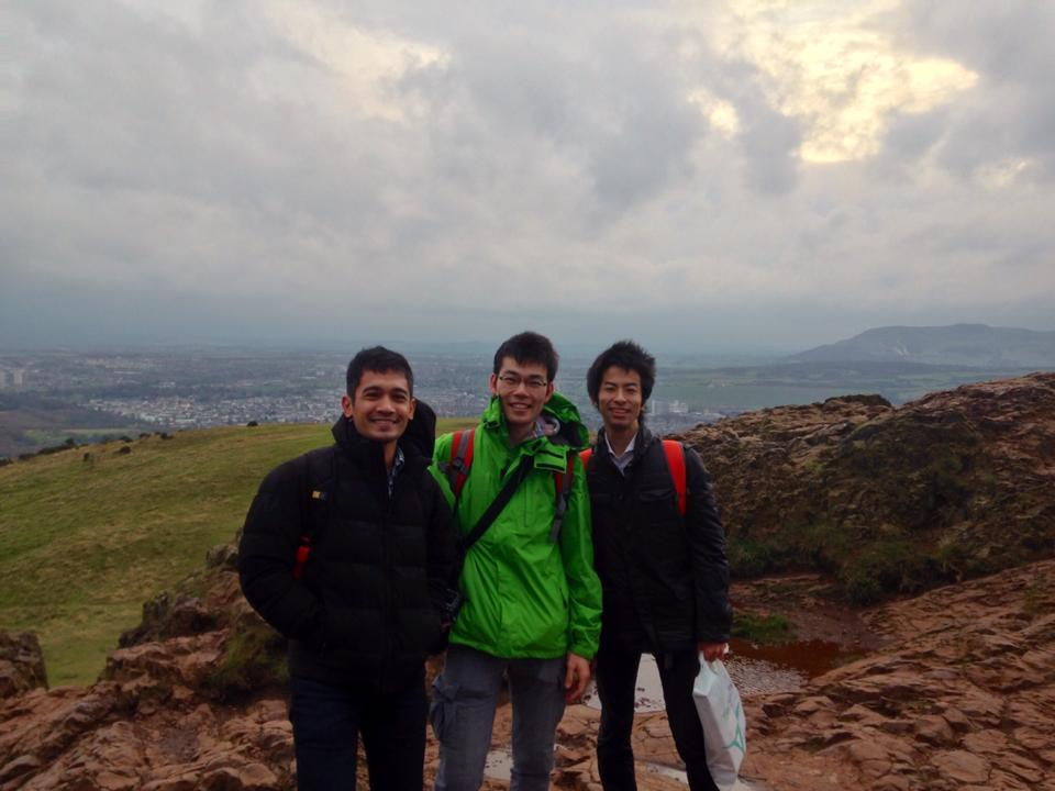 I went on top of Arthur's Seat with Yutah (TUM) and Ban (University of Tokyo). It took us around 30 minutes.
